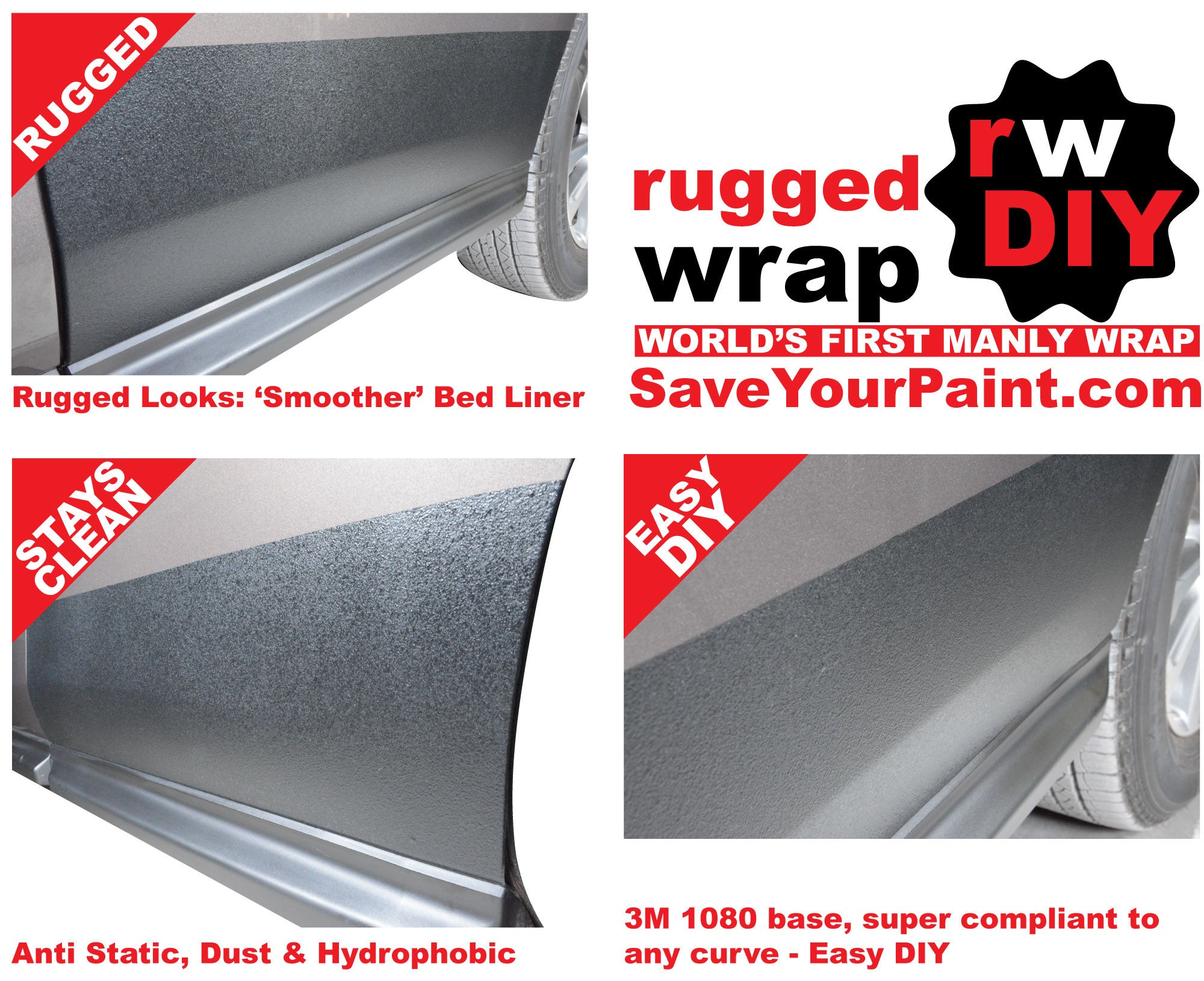 RuggedWrapDIY - Tough Wrap with Bed Liner on Rocker Panels Look