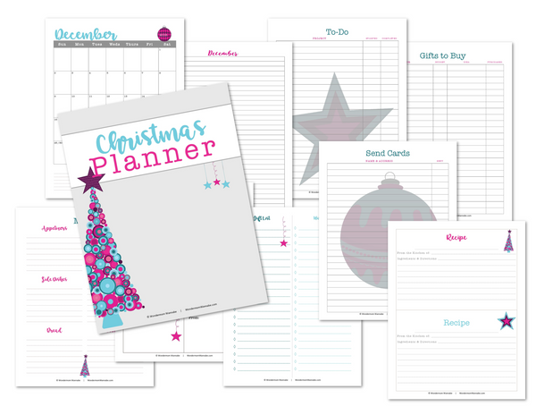 graphic about Christmas Planner Printable named Printable Xmas Planner - Crimson and Teal