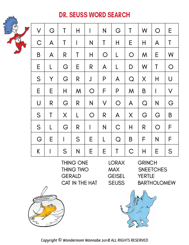 graphic about Dr Seuss Word Search Printable identified as Dr. Seuss Game Package for Small children