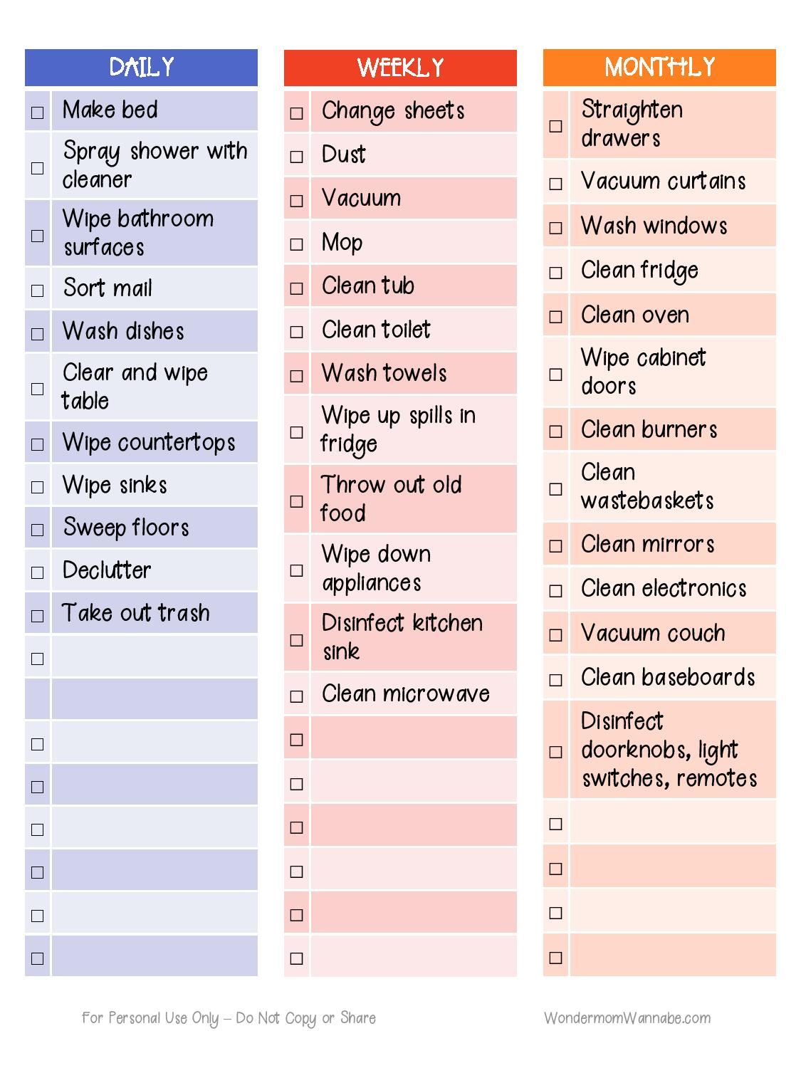 photo regarding Printable Cleaning Schedule titled Printable Cleansing Timetable