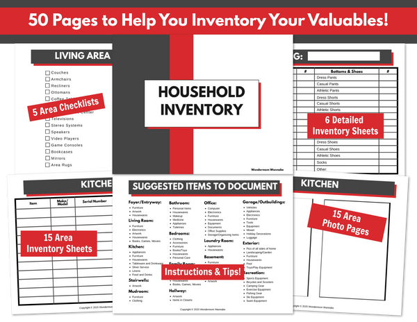 Household Inventory Workbook (Fillable PDF)