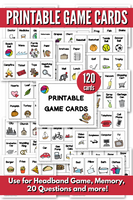 Printable Game Cards for Headband Game, Memory, or 20 Questions