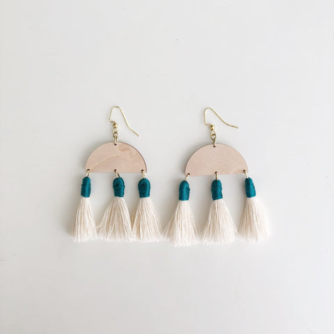 Aria Earrings in Maple with Teal Tassels