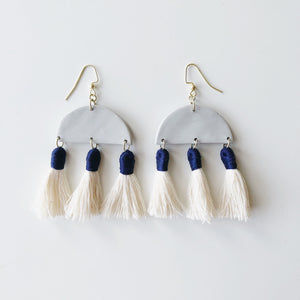 Aria Earrings in Grey Clay with Navy Tassels