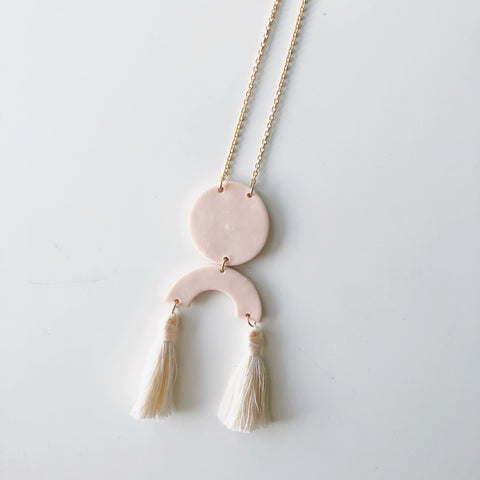 Sadie Necklace Pink with Cream Tassels