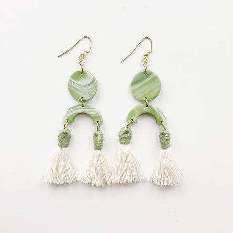Lola Earrings in Marbled Green with Green Tassels