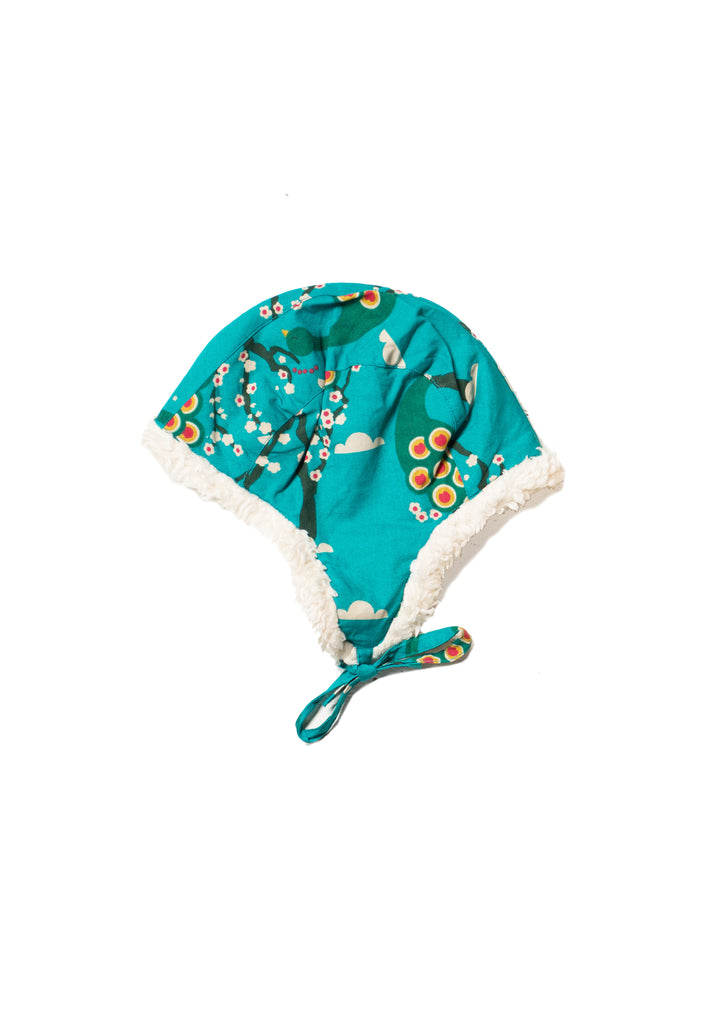 Midnight Peacock Sherpa Hat - Polly & Pickles Baby Boutique