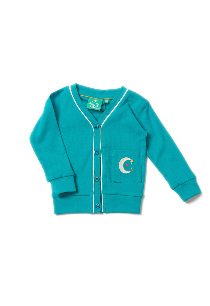 Peacock Blue Pointelle Cardigan - Polly & Pickles Baby Boutique