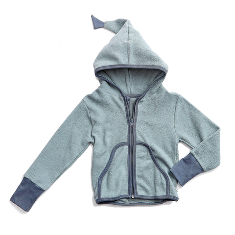 Dusty Green Fleece Zip-Up with Hood - Polly & Pickles Baby Boutique