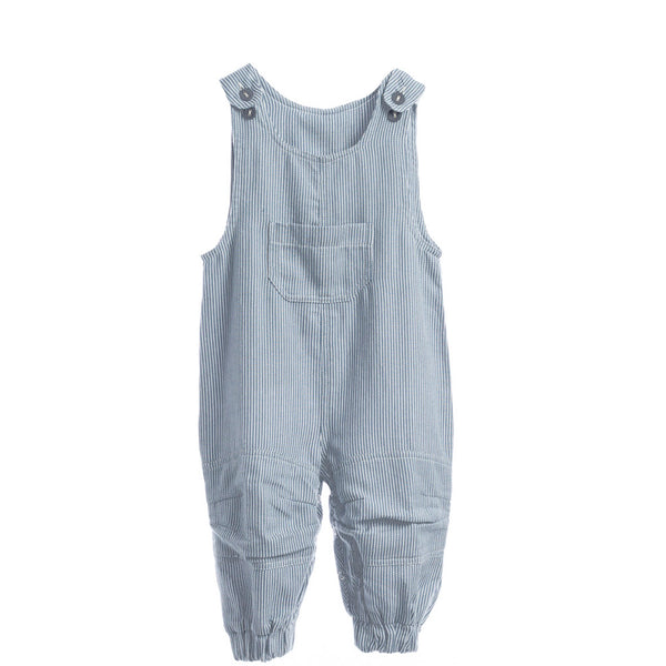 Blue/White Striped Overalls - Polly & Pickles Baby Boutique