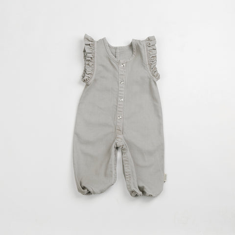 Gray Denim Frill Overalls - Polly & Pickles Baby Boutique