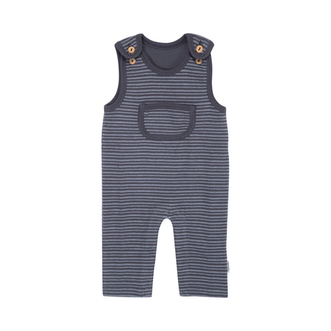 Grey Striped Overalls - Polly & Pickles Baby Boutique