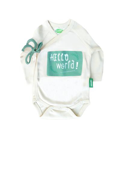 Kimono Onesie - Hello World - Green - Polly & Pickles Baby Boutique
