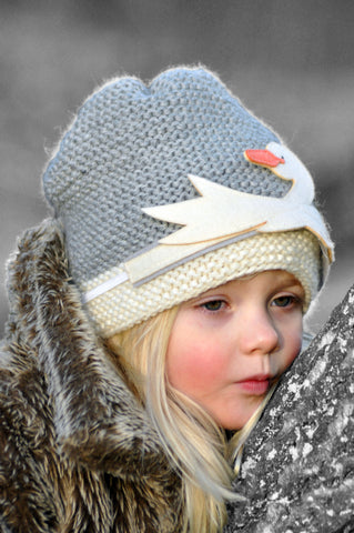 Swan Beanie (merino wool) - Polly & Pickles Baby Boutique