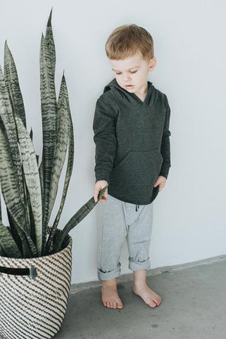 Charcoal Pocket hoodie - Polly & Pickles Baby Boutique