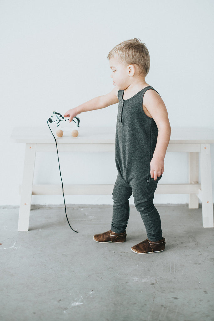 Charcoal Tank Romper - Polly & Pickles Baby Boutique