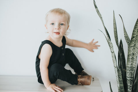 Black Tank Romper - Polly & Pickles Baby Boutique