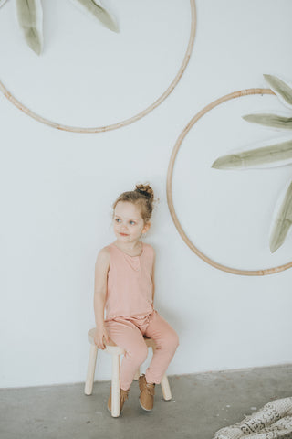 Rose Quartz Tank Romper - Polly & Pickles Baby Boutique