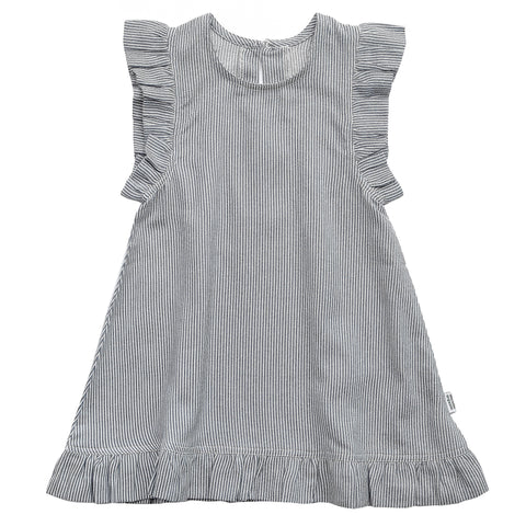 Blue / White Striped Dress with Ruffles - Polly & Pickles Baby Boutique