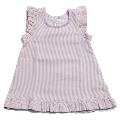 Rose / White Striped Dress - Polly & Pickles Baby Boutique