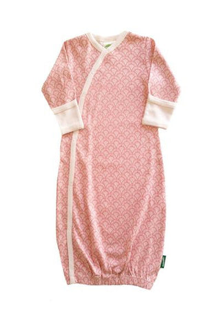 Organic Kimono Gown - Pink Fans - Polly & Pickles Baby Boutique