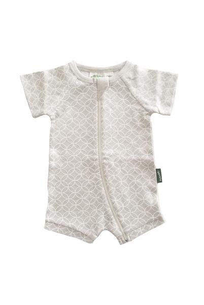 Organic Baby Shortie Zip Romper - Grey Circles - Polly & Pickles Baby Boutique