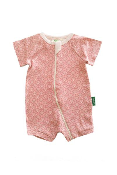 Organic Baby Shortie Zip Romper - Pink Fans - Polly & Pickles Baby Boutique