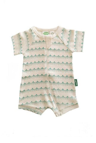 Baby Shortie Zip Rompers - Green Waves - Polly & Pickles Baby Boutique