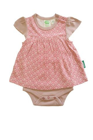 Onesie Dress - Pink Fans - Polly & Pickles Baby Boutique