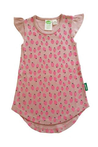 Organic Toddler T-Shirt Dress - Raspberries - Polly & Pickles Baby Boutique