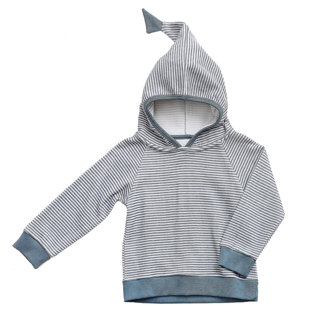 White / Blue Striped Hoodie - Polly & Pickles Baby Boutique