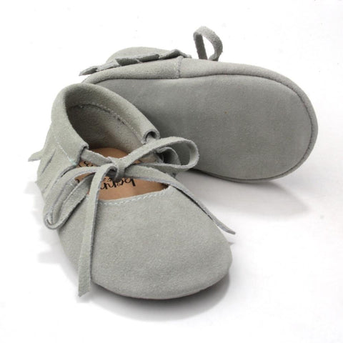 Suede Vegan Moccs in Sage - Polly & Pickles Baby Boutique