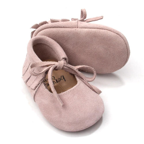 Dusty Pink Vegan Moccs - Polly & Pickles Baby Boutique