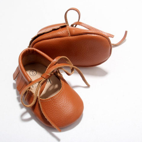 Tan Vegan Leather Moccs - Polly & Pickles Baby Boutique