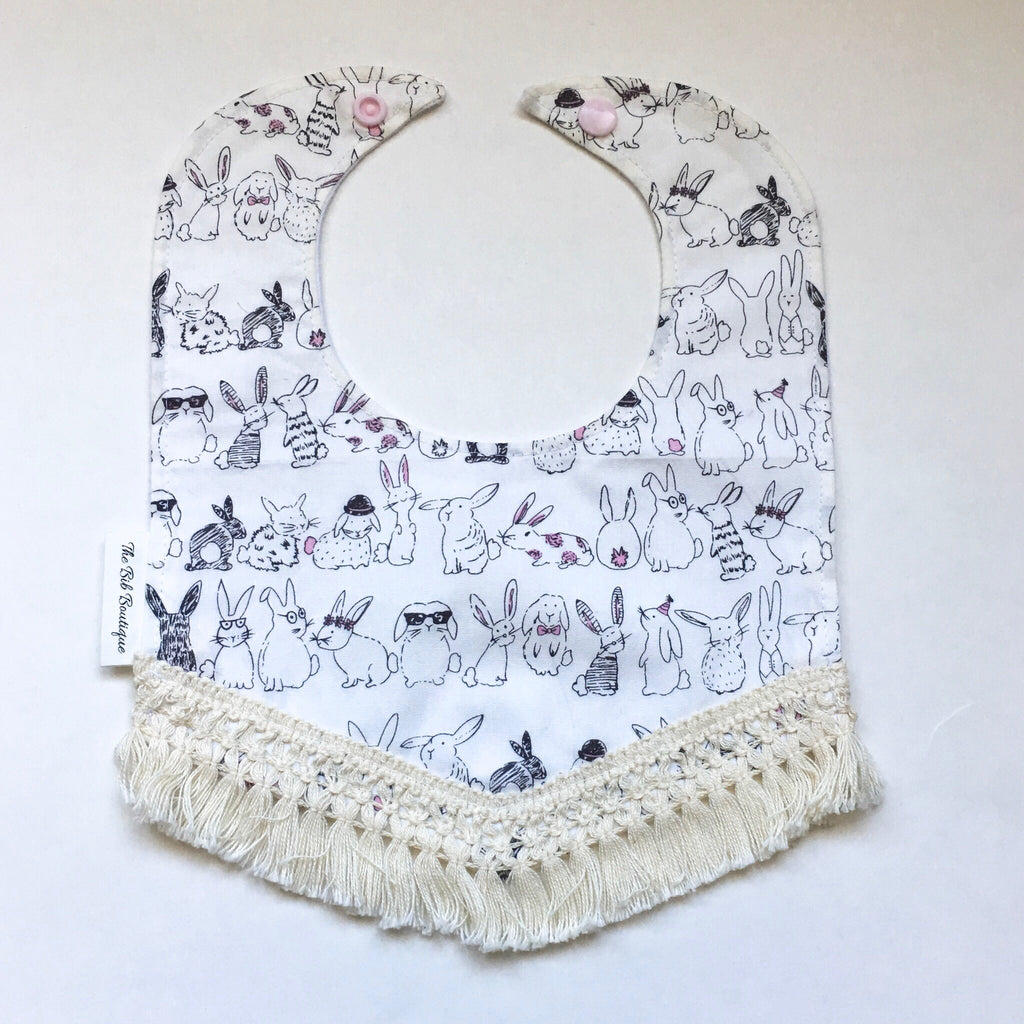 Cute Bunnies Drool Bib - Polly & Pickles Baby Boutique
