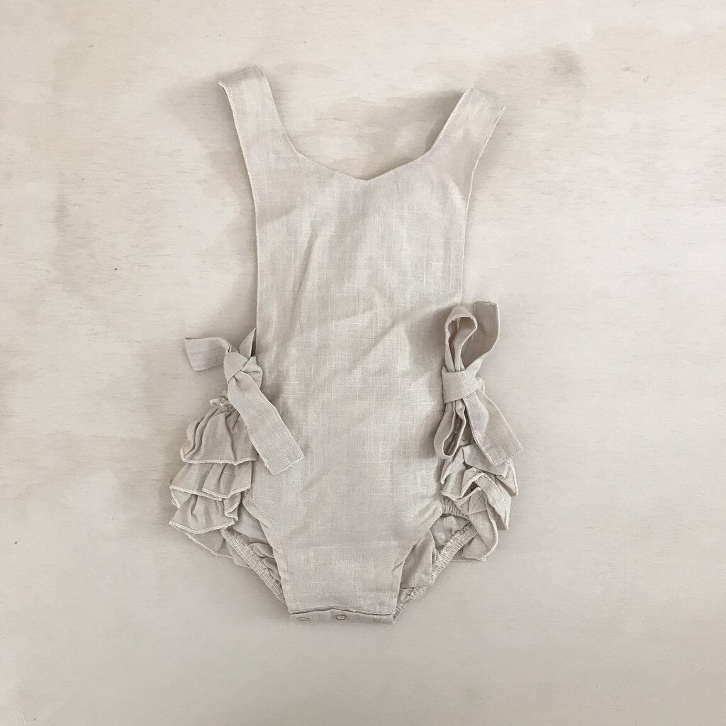 "Natural Linen ""Poppy"" Romper - Polly & Pickles Baby Boutique"
