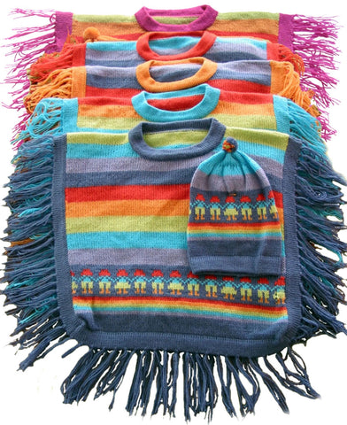 """Rainbow"" Poncho and Hat - Polly & Pickles Baby Boutique"