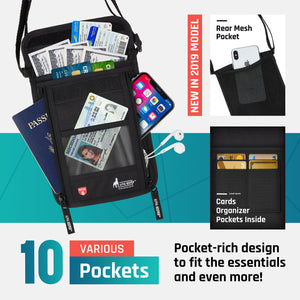 RFID Neck Wallet With Two Luggage Tags, the ultimate Passport Holder - Alpha Keeper