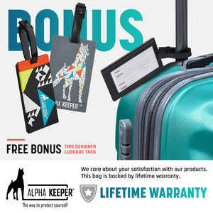 RFID Neck Wallet With Two Luggage Tags, the ultimate Passport Holder - (Black) - Alpha Keeper