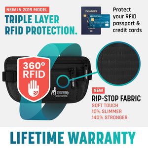 Black RFID Money Belt and RFID Sleeves set - Alpha Keeper
