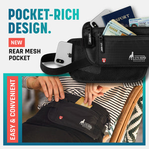 Black Money Belt and RFID Sleeves set - Alpha Keeper
