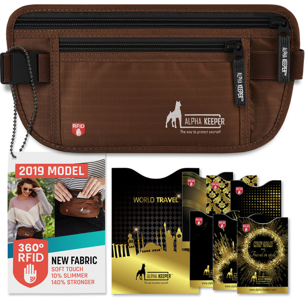 Brown RFID Money Belt and RFID Sleeves set - Alpha Keeper