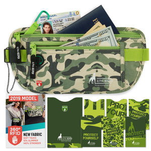 Camo Green RFID Money Belt and RFID Sleeves set - Alpha Keeper
