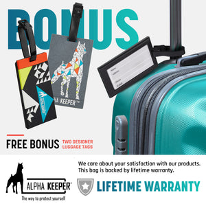 RFID Neck Wallet With Two Luggage Tags, the ultimate Passport Holder - (Grey) - Alpha Keeper