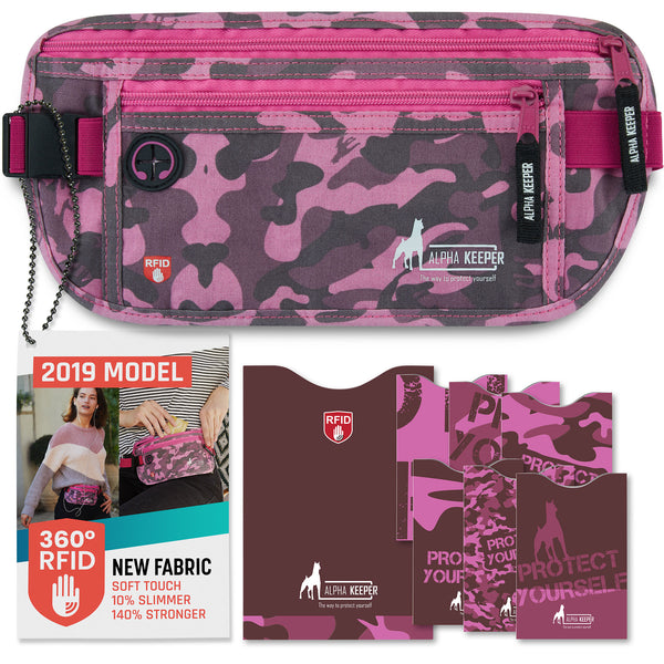 Camo Pink RFID Money Belt and RFID Sleeves set - Alpha Keeper