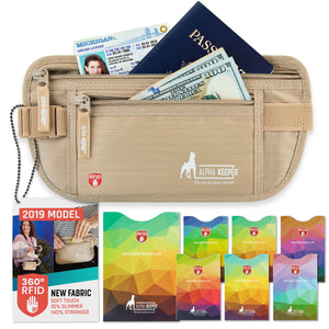 Beige RFID Money Belt and RFID Sleeves set - Alpha Keeper