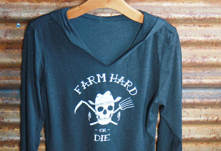 Women's Perfect Tri Blend Long Sleeve Hoodie T-Shirt Sweatshirt - Farm Hard or Die