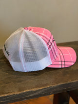 Classic Trucker Hat Pink Plaid - Farm Hard or Die