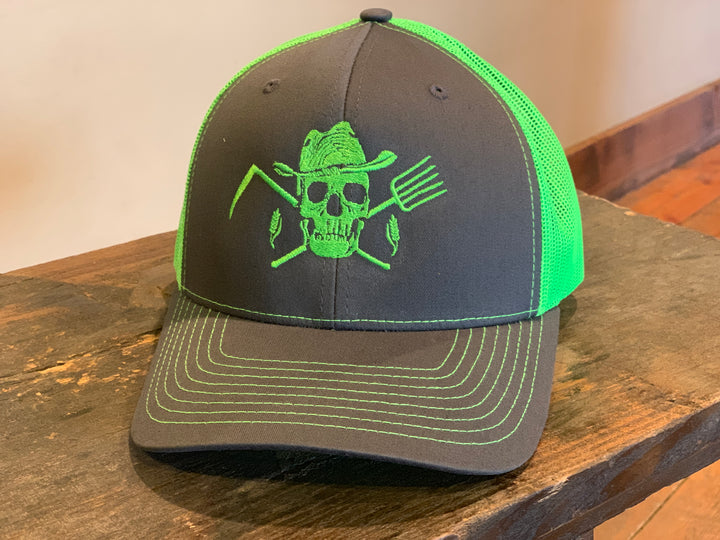 Classic Trucker Hat Charcoal & Neon Green - Farm Hard or Die