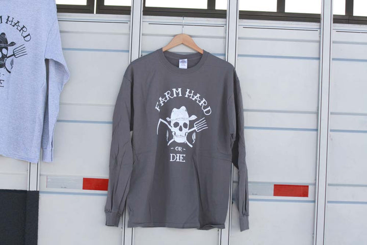 Men's Long Sleeve Farm Hard or Die Crew Neck T-Shirt - Farm Hard or Die